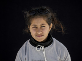 Zahraa Rahed,12, from Baghdad, Iraq, poses for a portrait in the Kara Tepe camp in Lesbos, Greece, Sept. 28, 2016. (Photo credit, Tara Todras-Whitehill/ Vignette Interactive for the IRC) Zahraa- My dream when I was small was to travel to my dad in Germany. I haven't seen him for two years. {Zahraa started crying after talking about her father and couldn't continue the interview.}
