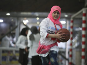 Kids take part in sports and development activities run by HOOPS, a partner of UNICEF, at the Burj el Barajneh camp in Beirut, Lebanon, January 16, 2016. (Photo Credit/Tara Todras-Whitehill for UNICEF)