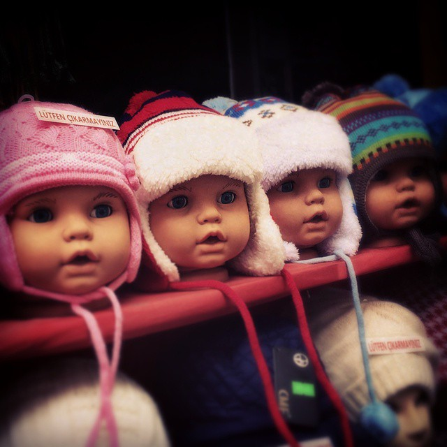 In my ongoing series: Baby #mannequin heads display hats for sale in the #Istanbul #Turkey photo by @taratwphoto Tara Todras-Whitehill  #abusedmannequins #instalater