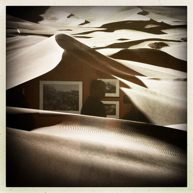 Reflections in #sanddunes at the #sebastiansalgado exhibit. Also the last exhibit at the #ICP in #Manhattan. Sad to see that space close. Photo by @taratwphoto Tara Todras-Whitehill #latergram #instagood #reflections #nyc #photography #salgado
