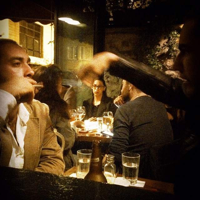 At a cool little cafe/bar in #Istanbul #Cihangir. Photo by @taratwphoto Tara Todras-Whitehill #latergram #instagood #photooftheday #picoftheday #friday #fridaynight #cool #bar #Turkey #cafe #smoke #smoking #drink #drinking #datenight