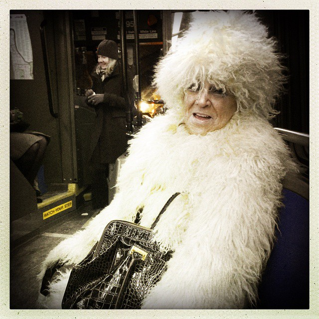 This woman was rocking a coat she got in China 35 years ago. She said it was super warm, which I believe, and that she says people should call her #Sasquatch. #Latergram #whyIloveNYC Photo by @taratwphoto Tara Todras-Whitehill #instagood #nyc #snow #weather