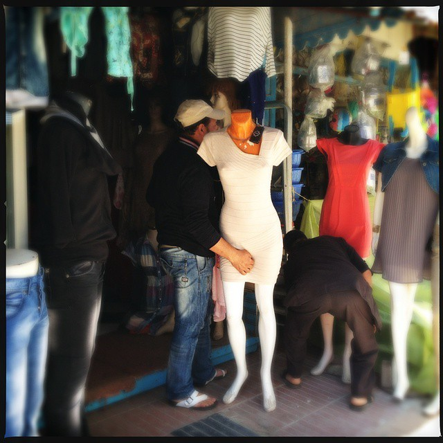 In my ongoing series: A woman #mannequin is groped unintentionally by a vendor in the #oldcity of #Essaouira #Morocco  photo by @taratwphoto Tara Todras-Whitehill #abusedmannequinsoftheMiddleEast #abusedmannequins