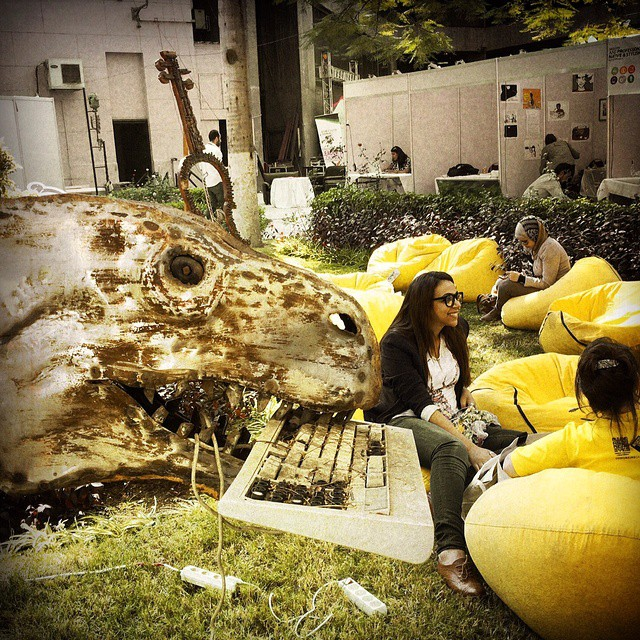 A dinosaur eats a relic of an old keyboard at the Rise Up Entrpreneur Summit in downtown #Cairo #Egypt. Photo by @taratwphoto Tara Todras-Whitehill #latergram #instagood #dinosaur #keyboard #auc #greekcampus #riseup14 #RiseUp #RiseUpEgypt #entrepreneurs #startups #summit #photooftheday #picoftheday